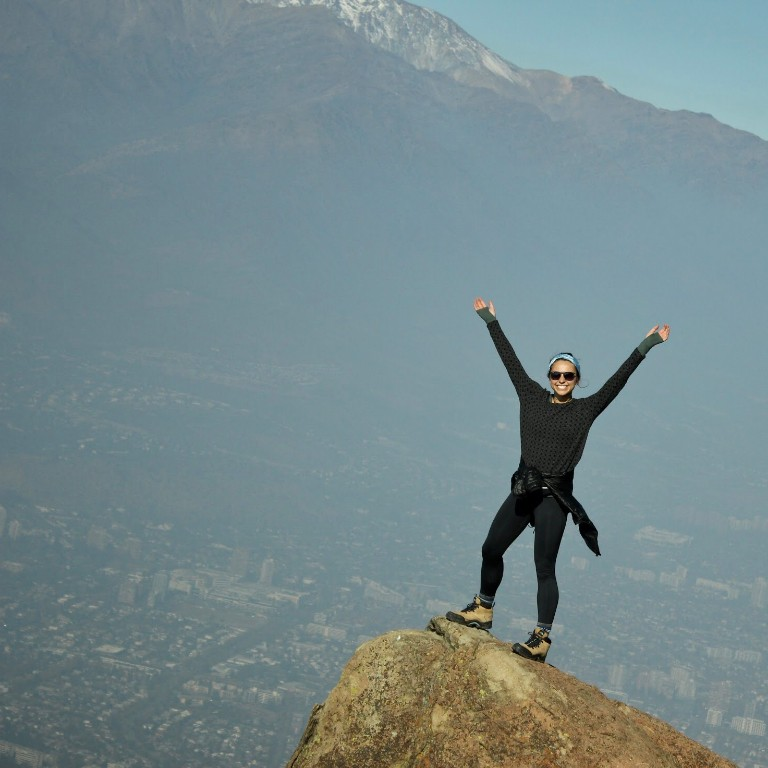 HIEP recipients in South America - Juliet Hardesty at the top of a mountain overlooking Santiago Chile