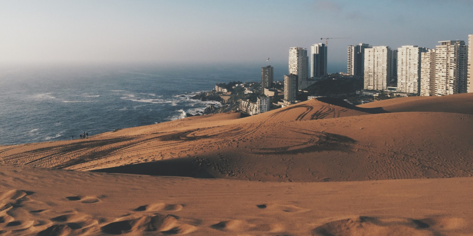HIEP recipients in South America - an HIEP recipient's photo of Valparaiso and the ocean from the nearby dunes in Chile