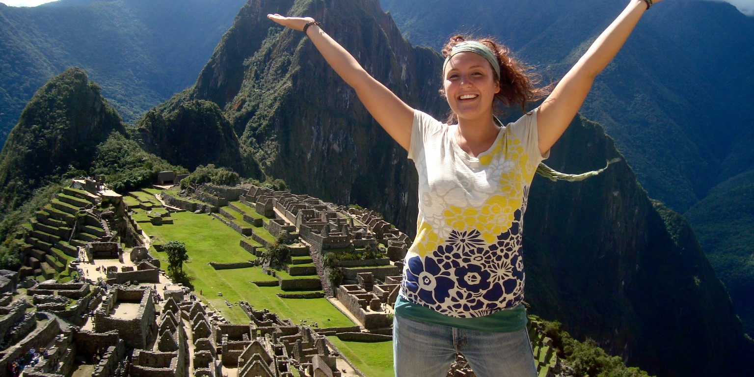 HIEP recipients in South America - Jacqueline Wagner poses for a photo overlooking the ruins of Machu Pichu in Peru