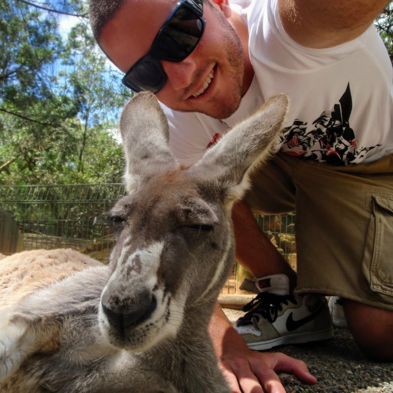 HIEP recipient photo from travel in Australia - posing with a kangaroo