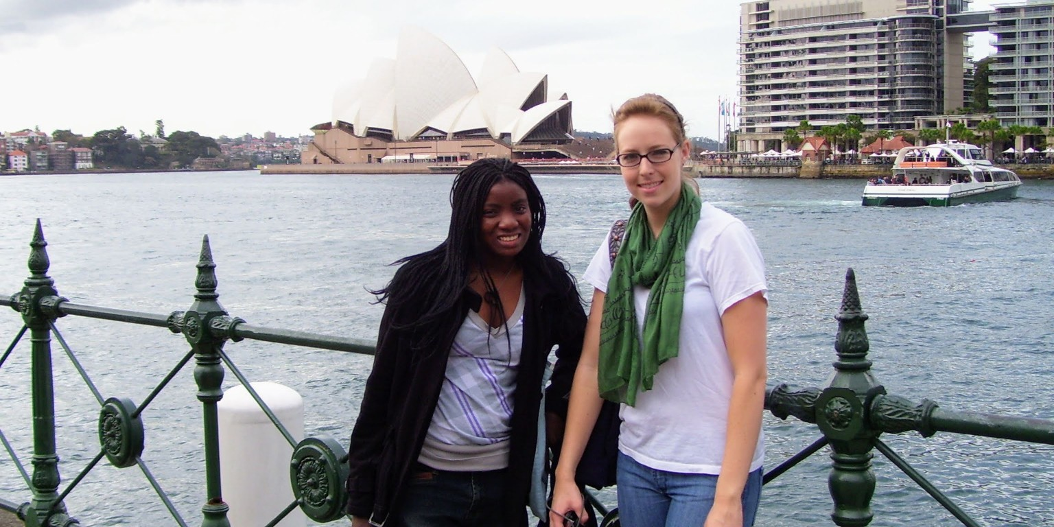 HIEP recipient photo from travel in Australia - HIEP recipient and a friend posing in front of the Sydney Opera House