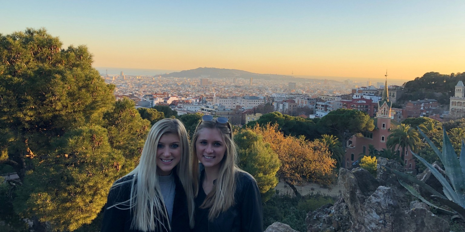 HIEP recipients in Spain - Kathryn Puzzella and a friend in the Parc Güell overlooking Barcelona