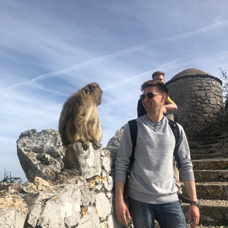 HIEP recipients in Spain - Jared Rusin meets a monkey in Seville