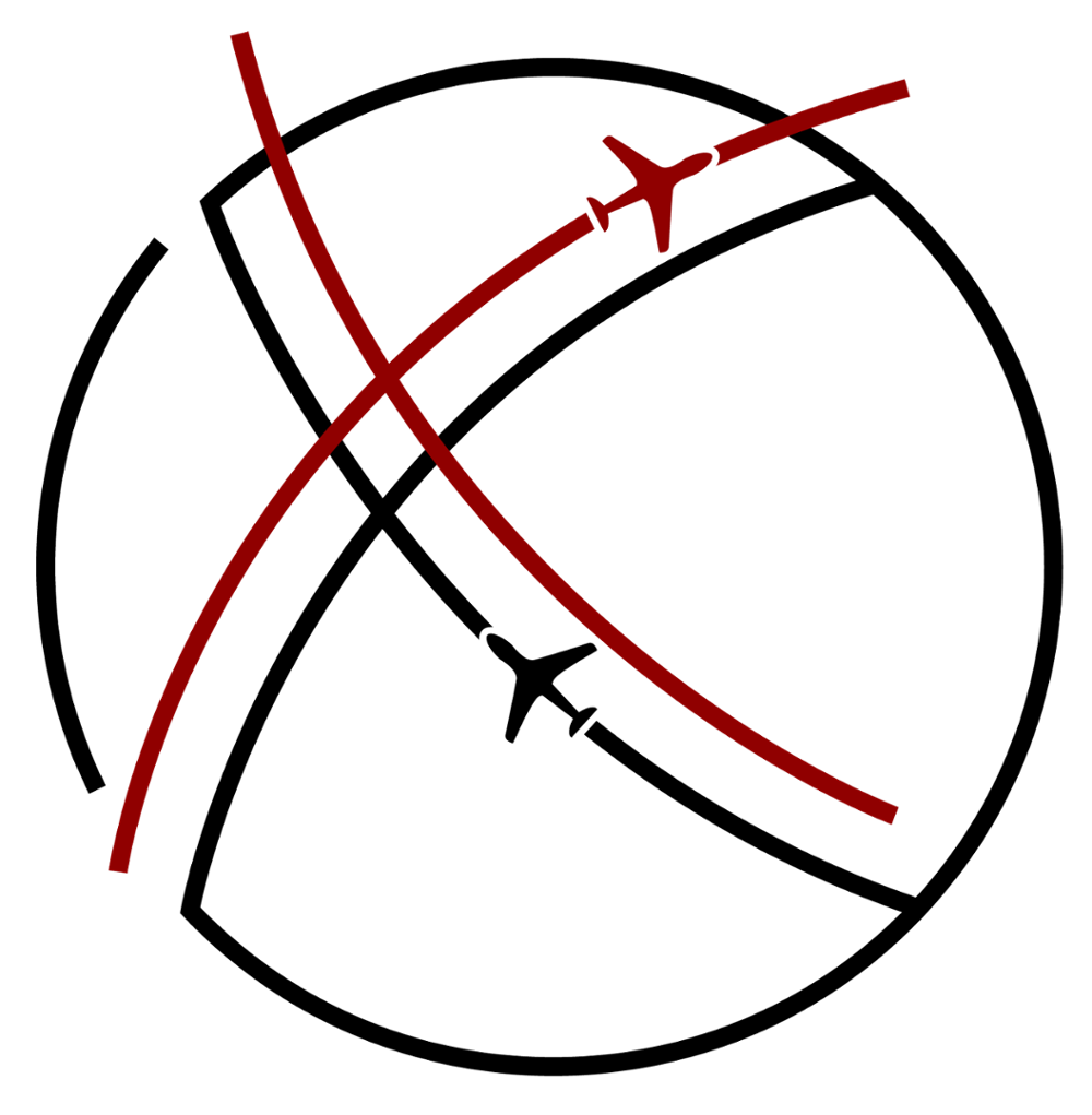 Graphic for the HIEP 20 years campaign - airplanes cross over the globe creating two X patterns, representing the roman numerals for 20.
